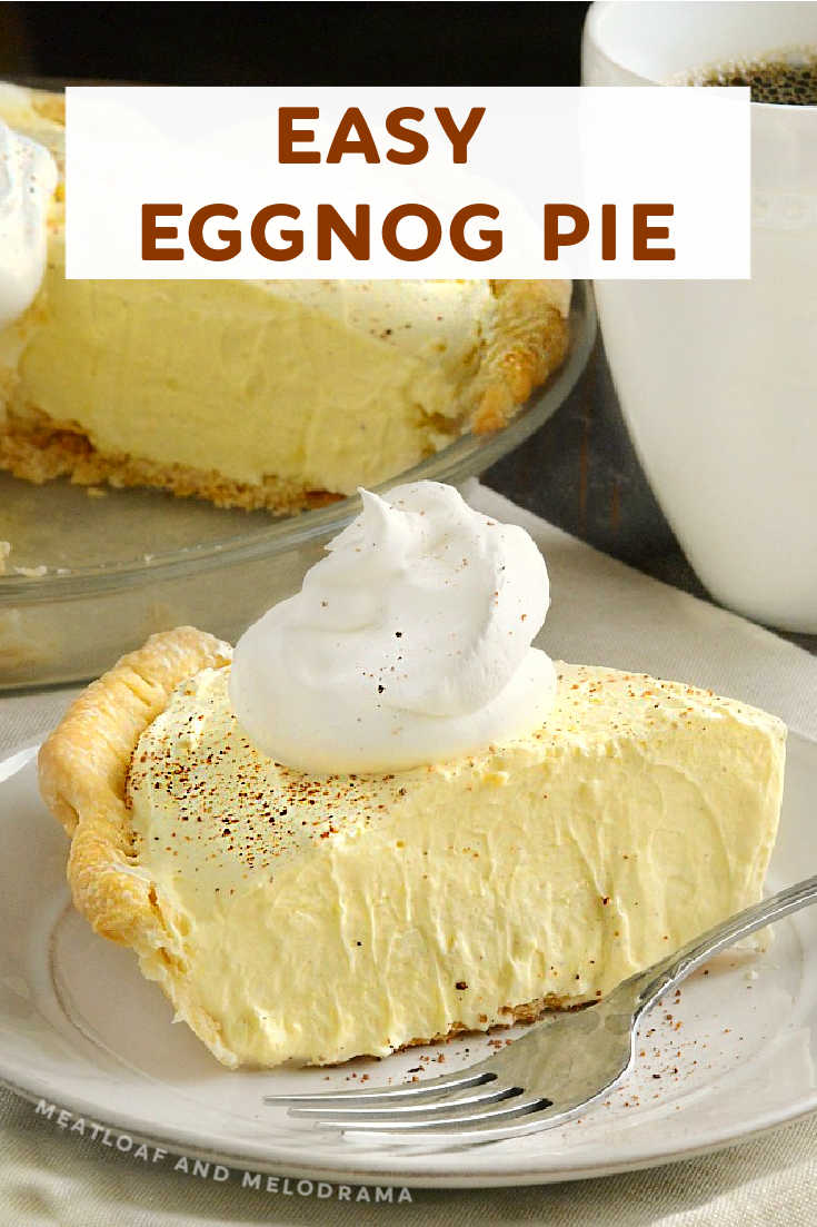 This easy no bake Eggnog Pie has won a permanent place on our Thanksgiving and Christmas dessert menus. It's light, fluffy and a family favorite! You only need 5 ingredients to make it!