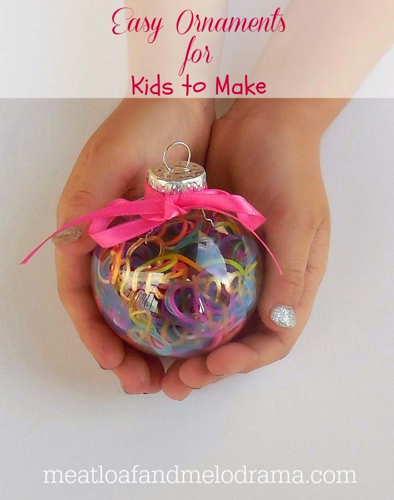 clear plastic ornament filled with loom bands and rainbow loom bands