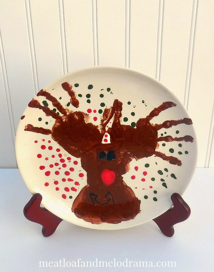 handprint reindeer on a plate