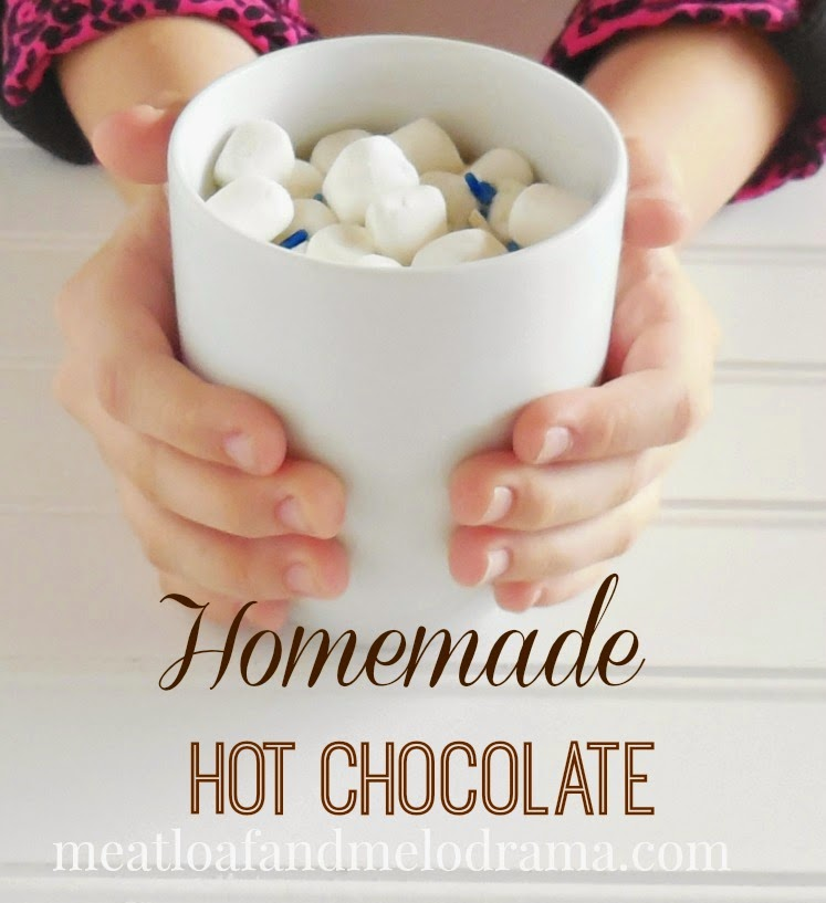 girl holding cup of hot chocolate and marshmallows