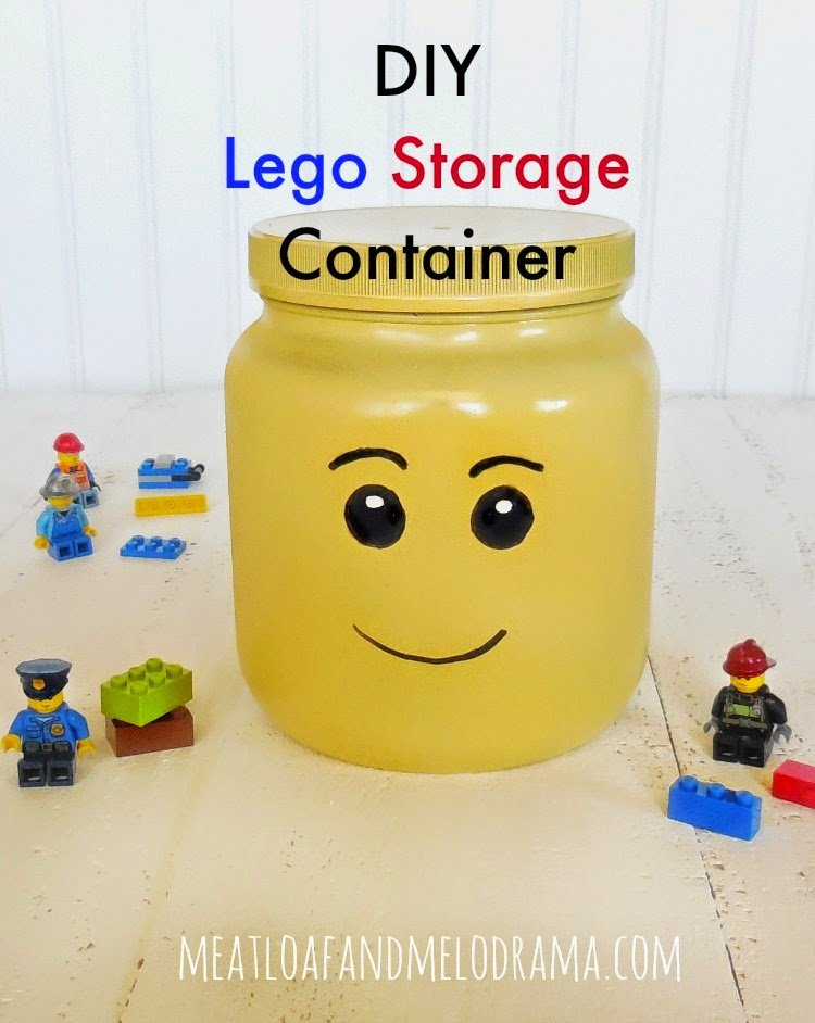 lego head storage container made from plastic jar