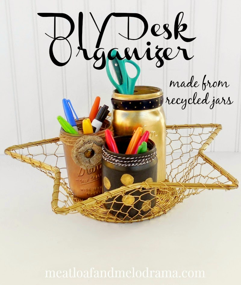 spray painted mason jars used to hold office supplies