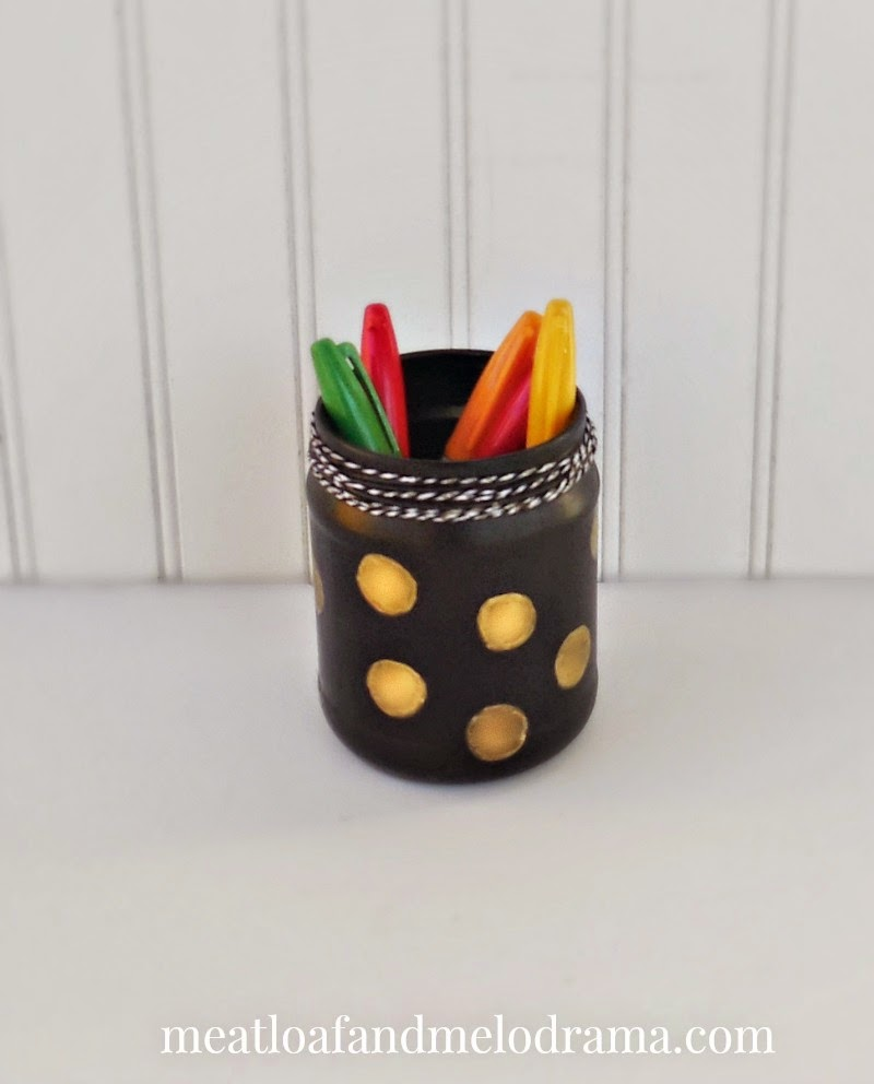 upcycled black and gold jar pencil pen holder