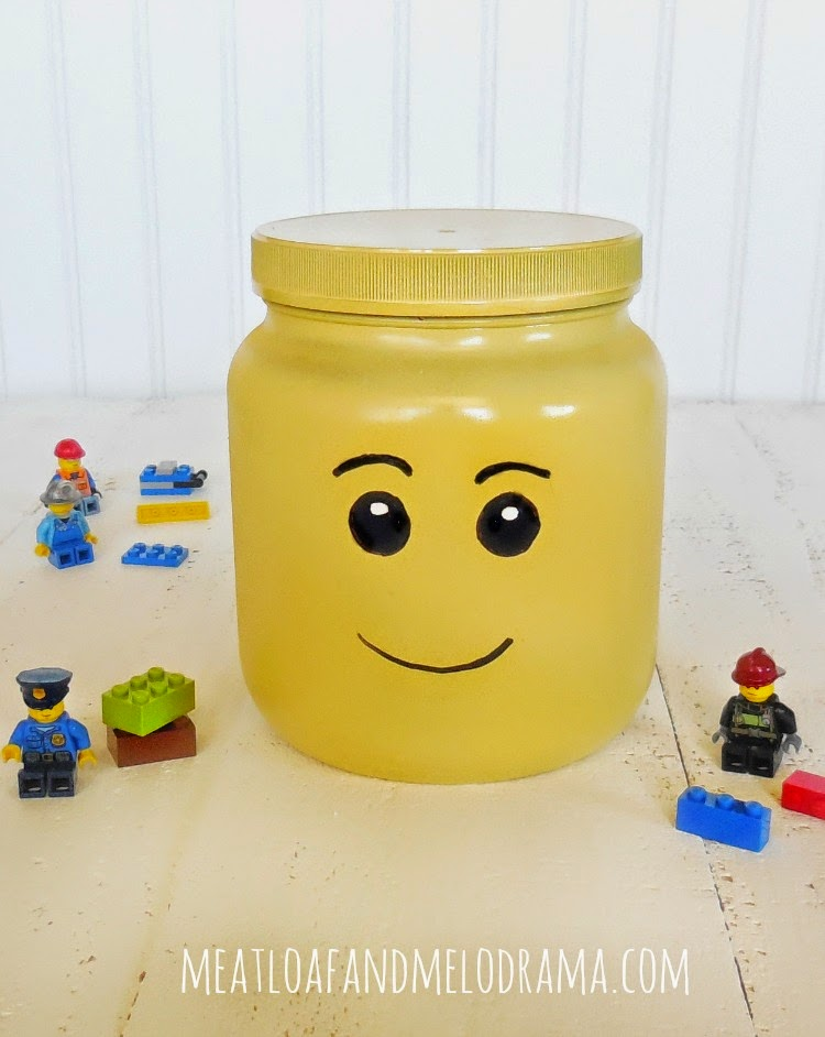 diy lego head storage box with lego mini figures and bricks