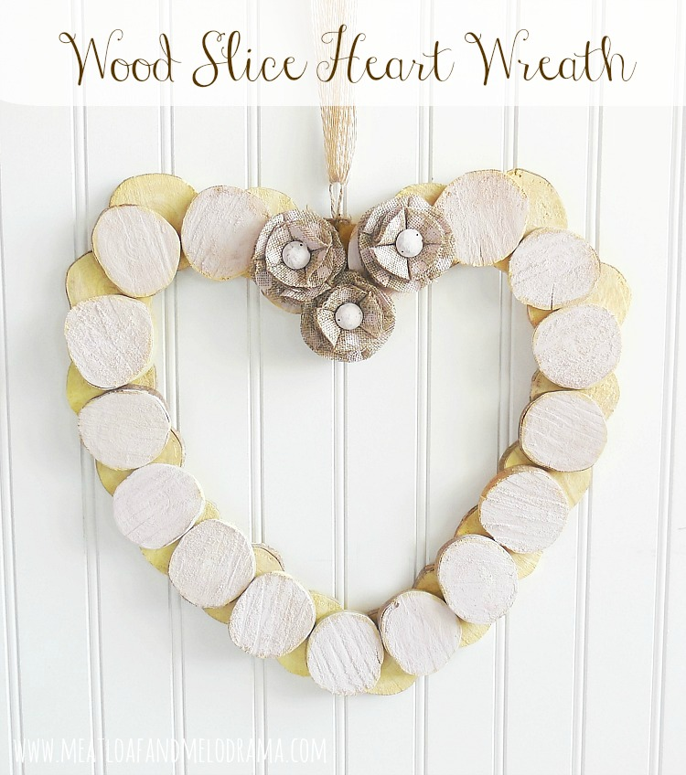 how to make a heart wreath from wood slices