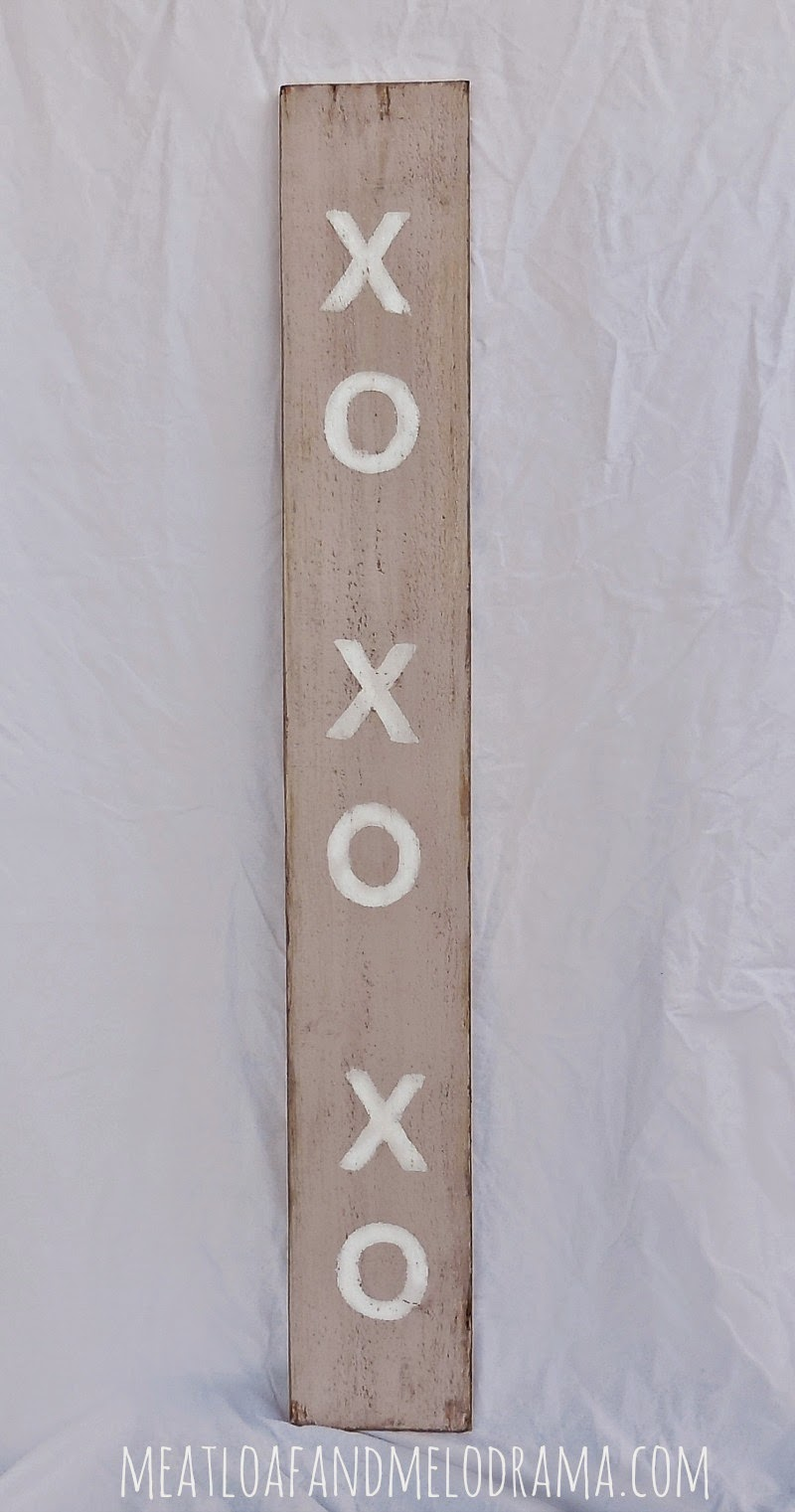 pink and white valentines day sign with xo xo and annie sloan paint