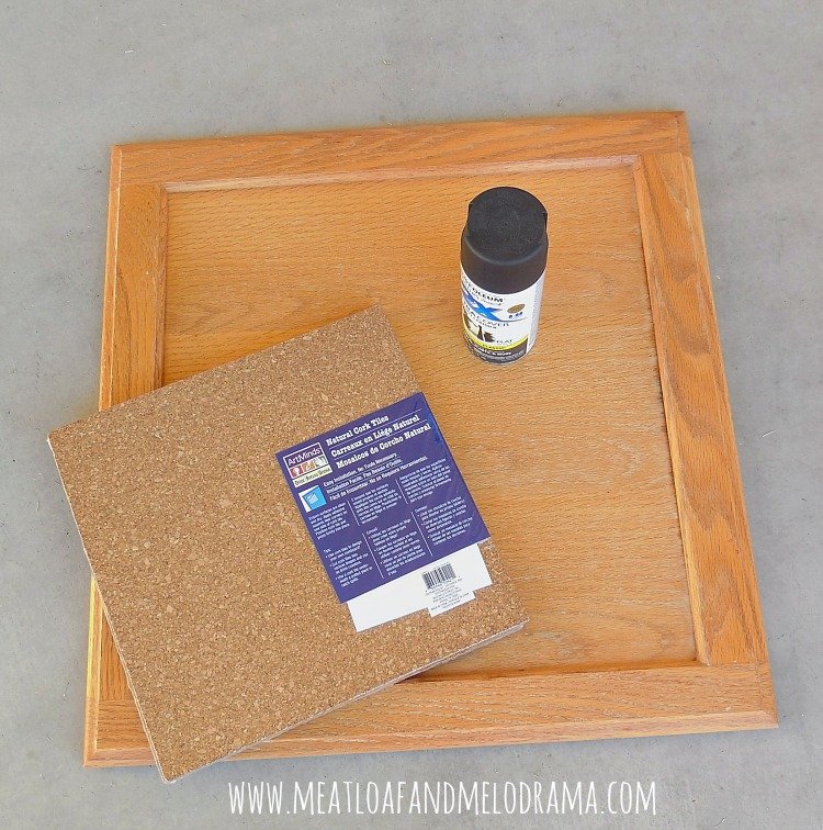 old cabinet doors with Rust-Oleum spray paint and cork board