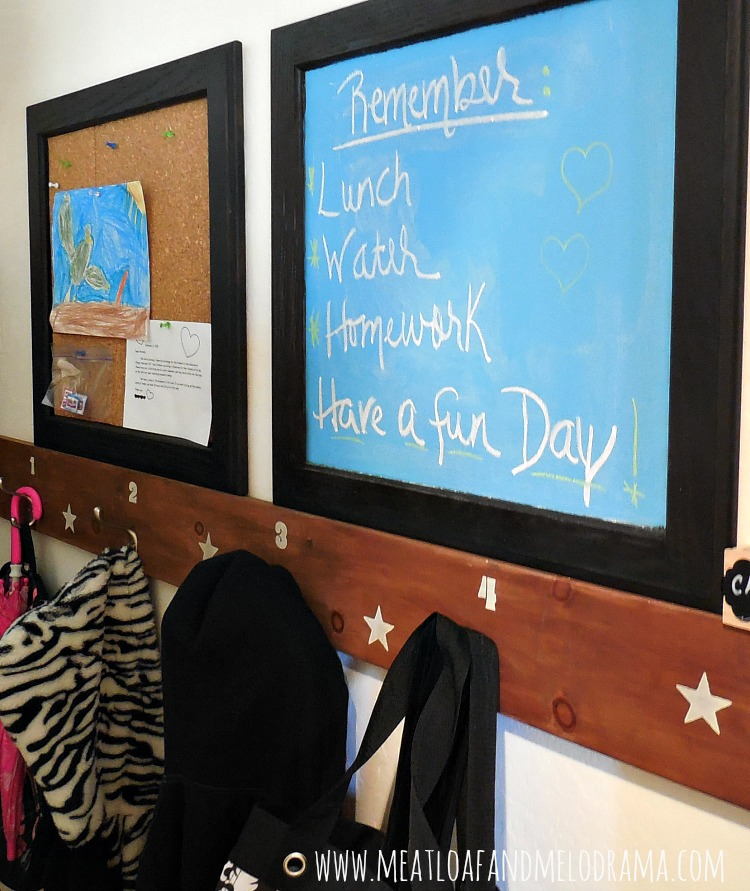 diy coat rack and message center made from kitchen cabinet doors in coat closet