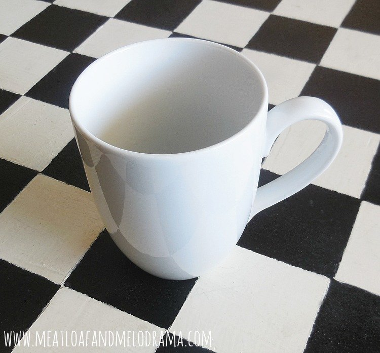plain white coffee cup from cost plus