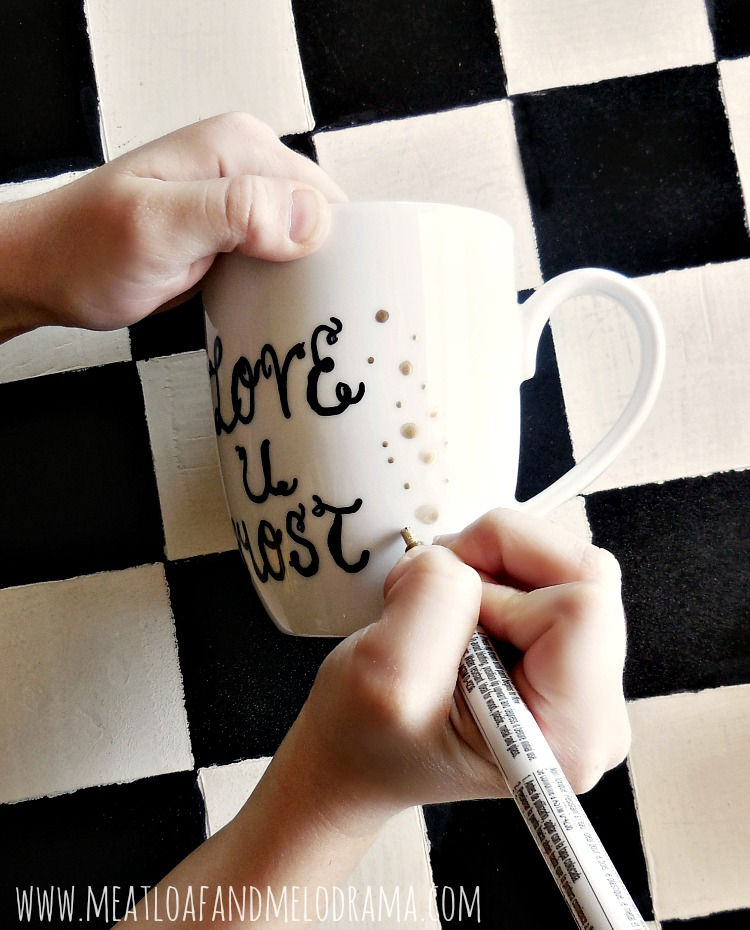 painted coffee cups with paint marker