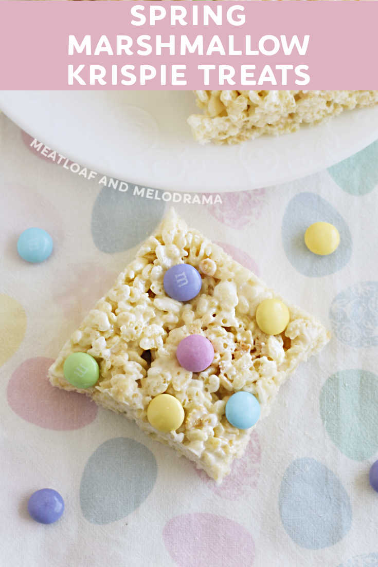 Spring Marshmallow Krispie Treats are easy to make with rice cereal, marshmallows and pastel candies. Perfect for a quick snack or dessert!
