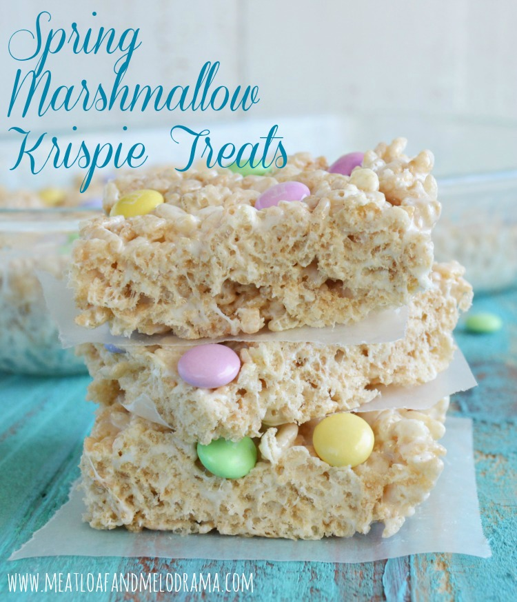 rice krispies treats with pastel m and ms