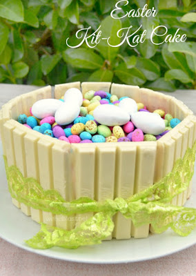 Easter Kit-Kat Cake ~ This Easter Kit-Kat Cake is so quick and easy to make, AND if you use a store-bought cake, you can have the Cake ready in minutes !