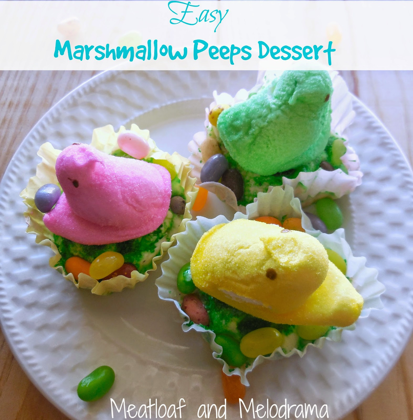 marshmallow peeps over ice cream muffins