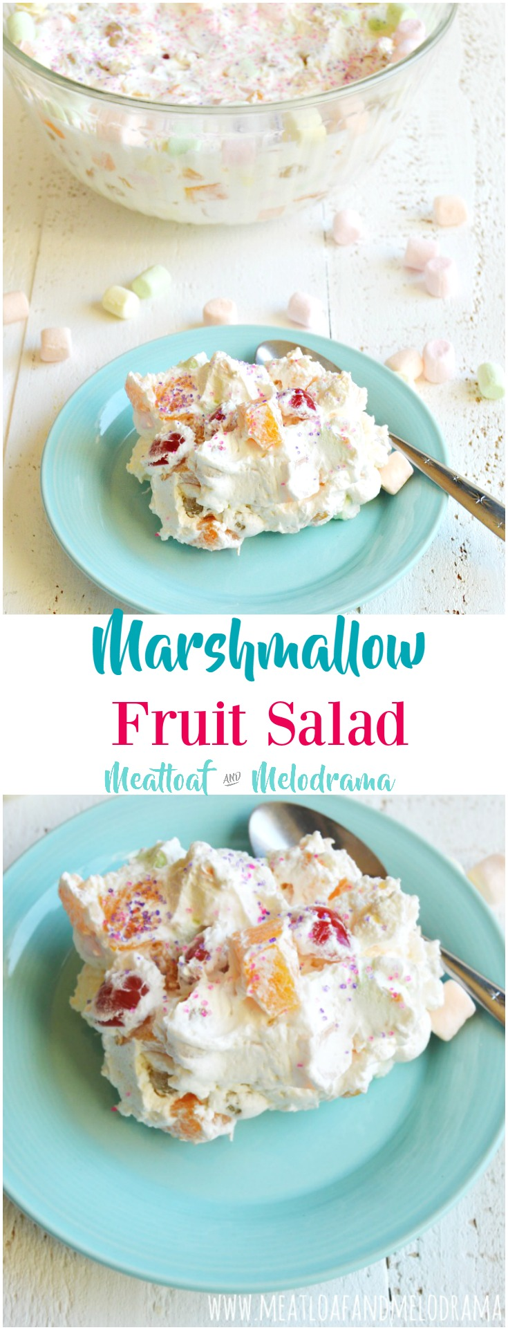 double image pin of fruit salad with marshmallows