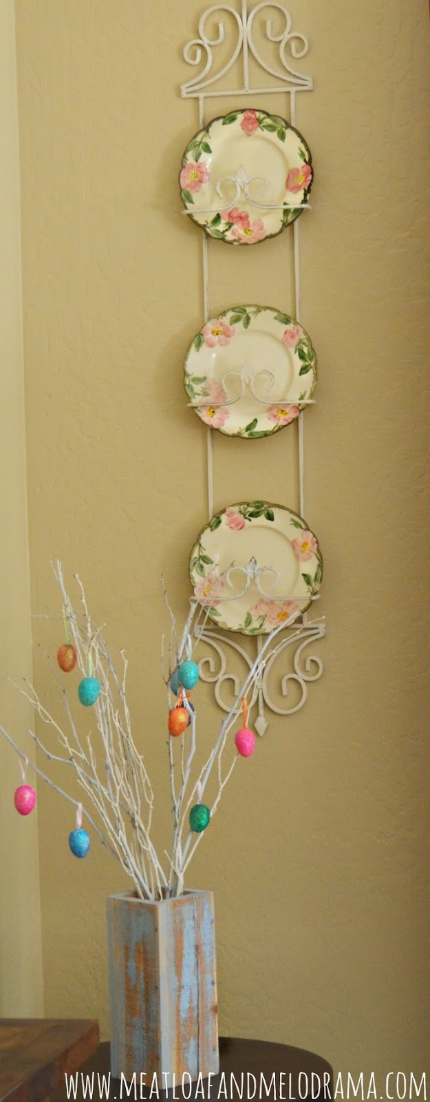 vintage desert rose dishes and easter tree with glittered eggs