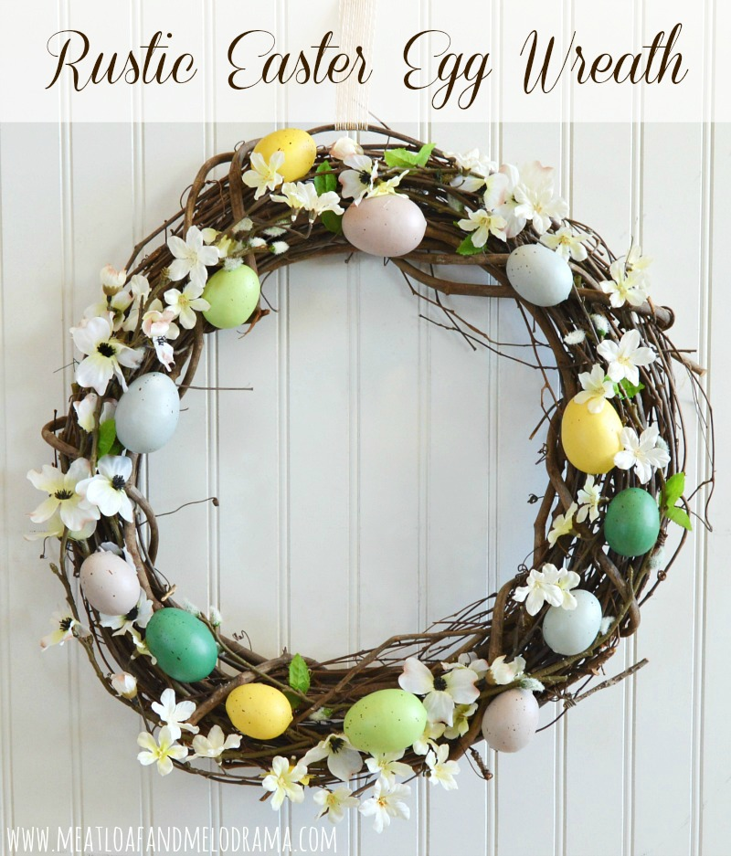 rustic grapevine easter egg wreath with faux eggs and flowers for spring