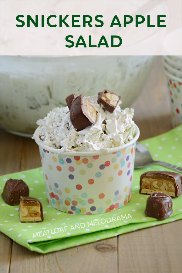 snickers salad in a polka dot paper cup