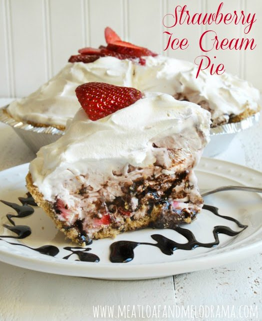 strawberry ice cream pie with cool whip and chocolate and strawberries for Easter