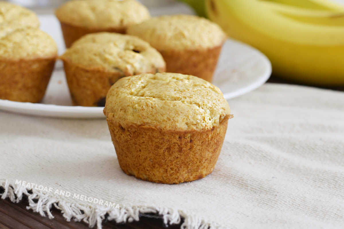 2 ingredient banana muffin on the table