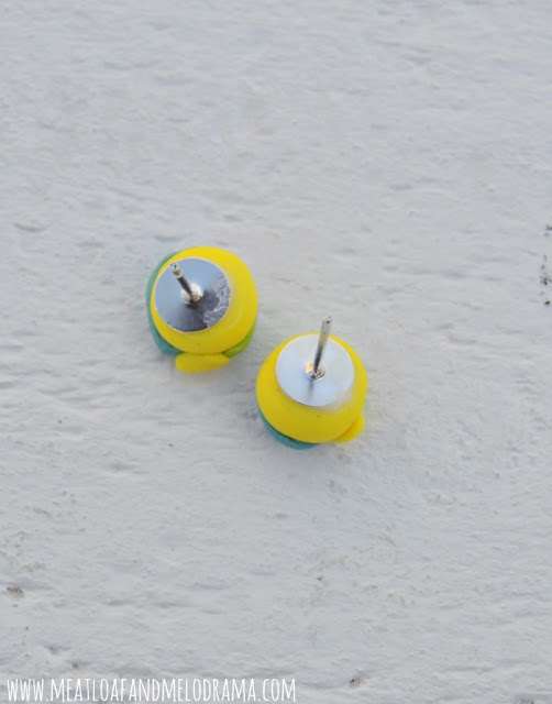 earring posts glued to polymer clay beach ball earrings
