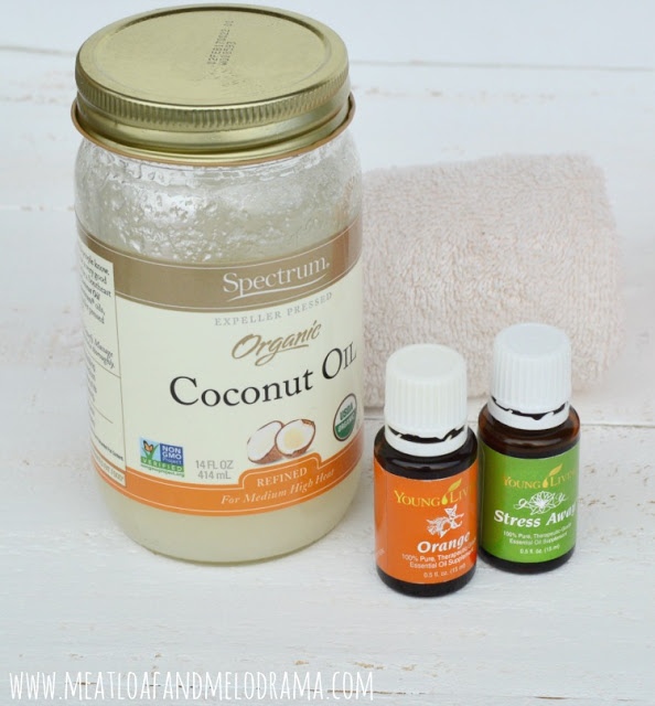 coconut oil with orange essential oil and stress away oil blend