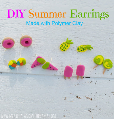 polymer clay earrings in summer shapes