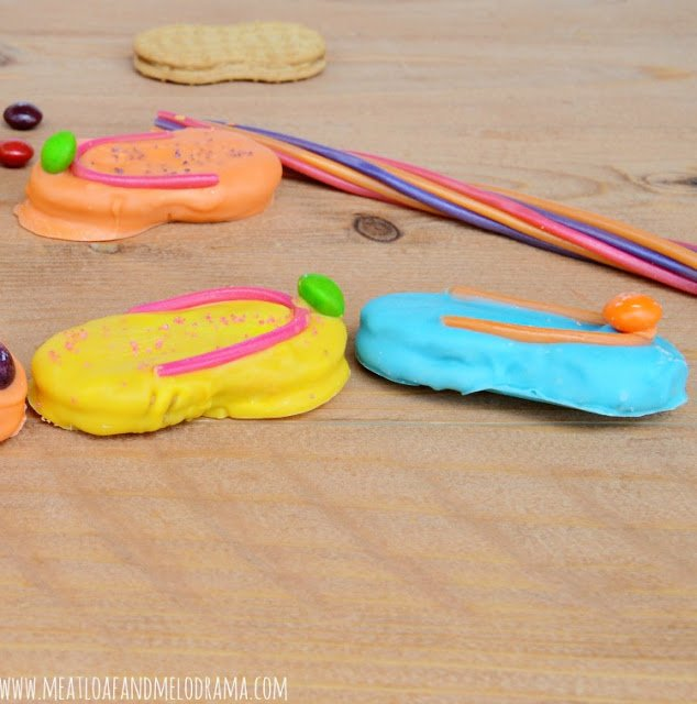 flip flop cookies made from nutter butter and candy