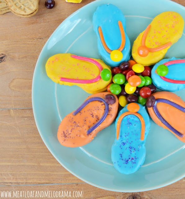 dipped nutter butter flip flop cookies with skittles and twizzler ropefor summer dessert