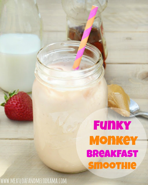 breakfast smoothie made with peanut butter strawberries bananas and milk