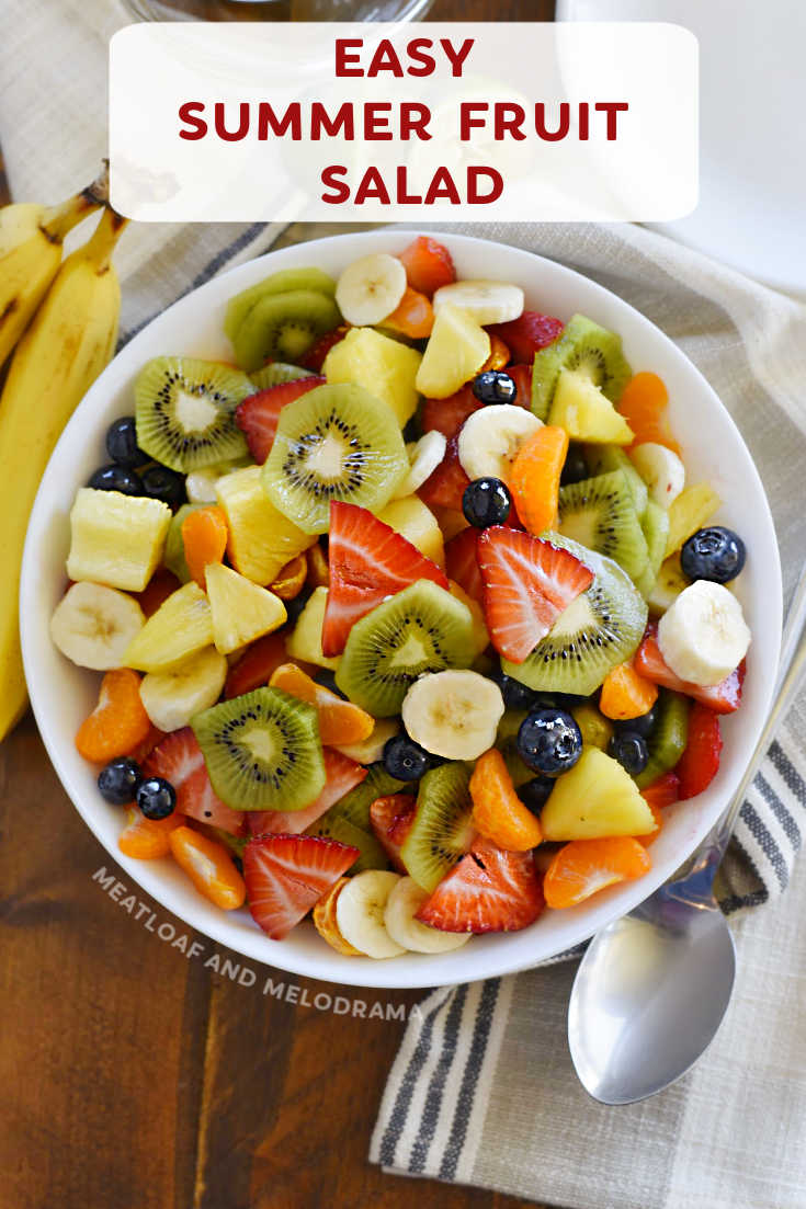This homemade Summer Fruit Salad made with fresh fruit and a delicious honey lime dressing is bright, colorful and an easy side dish for summer cookouts!
