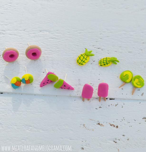 donuts watermelons popsicles and pineapple earrings made from polymer clay