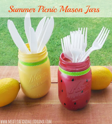 diy painted watermelon and lemon mason jar utensil holders