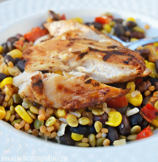 frozen grilled chicken with bowl of whole grains and veggies