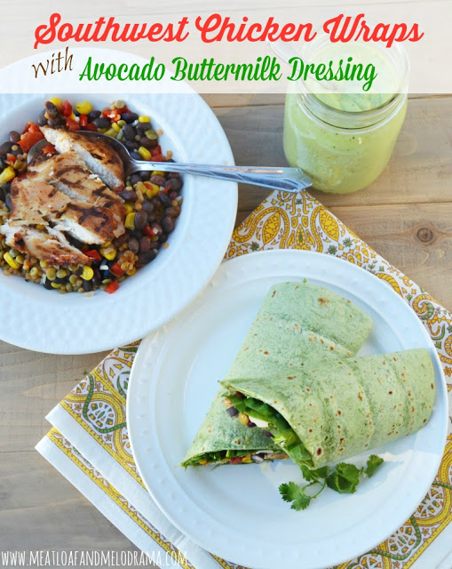 chicken wraps with avocado dressing and grilled chicken on the side