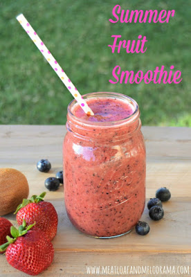 summer fruit smoothie in a jar