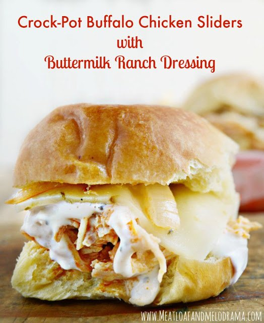 chicken sliders made with red hot buffalo sauce and topped with pepper-jack cheese