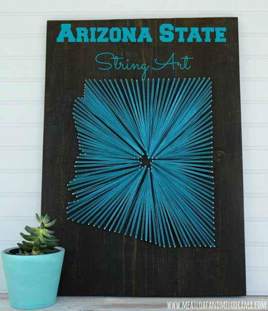 string art home decor made in the shape of Arizona