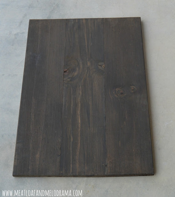 stain wood pine board with dark walnut stain
