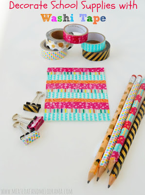 decorate school supplies with washi tape
