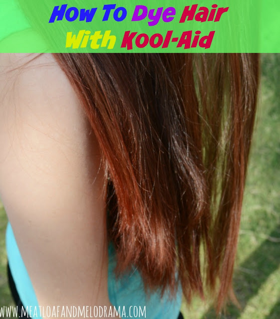 brown hair with red tips dyed with Kool Aid