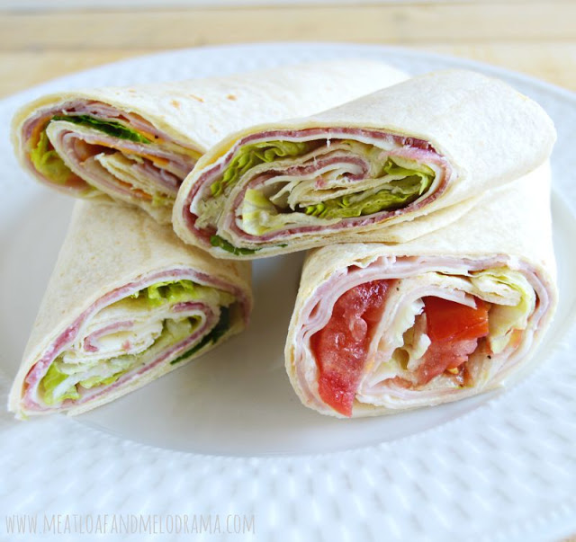 salami, ham and cheese with lettuce rolled in a tortilla for easy school lunch