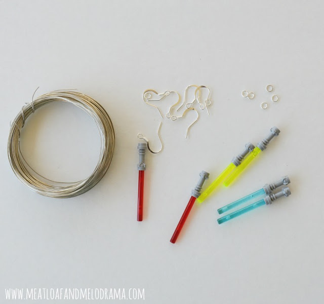 supplies used to make lightsaber earrings