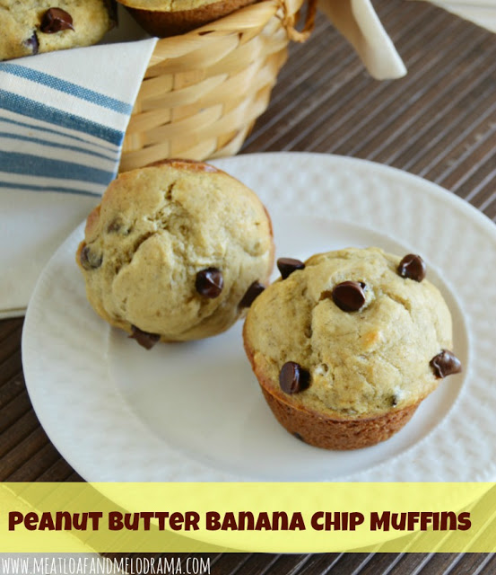 protein packed muffins made with bananas, peanut butter and chocolate chips