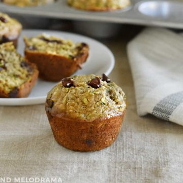 zucchini banana muffin with chocolate chips on the table