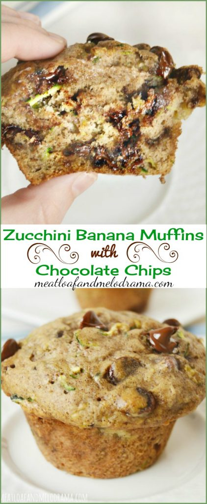 zucchini banana muffins with chocolate chips