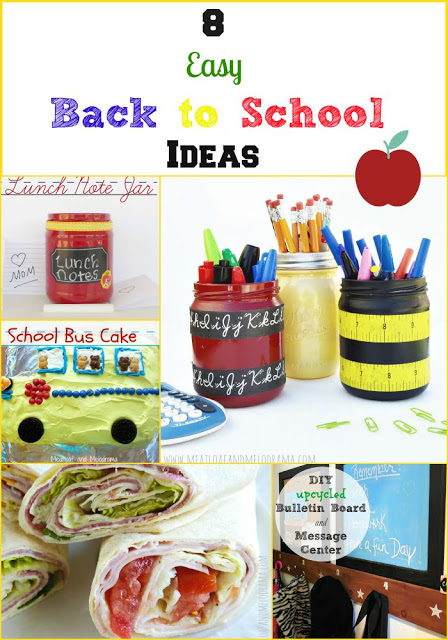 collage of easy back to school crafts and projects and meal ideas