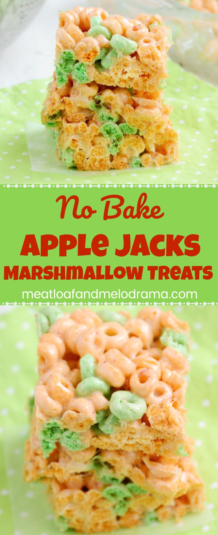 No Bake Apple Jacks Marshmallow Treats -- A quick and easy no bake dessert that's a perfect summer treat for kids of all ages