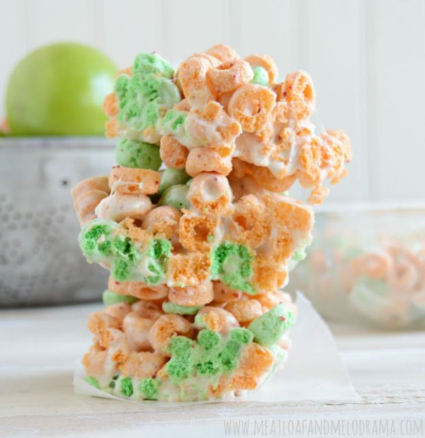 crispy cereal bars made with apple jacks and marshmallows