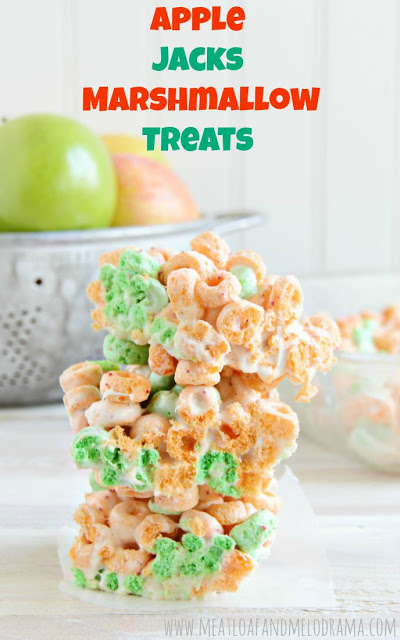 no bake cereal bars made with apple jacks cereal and marshmallows